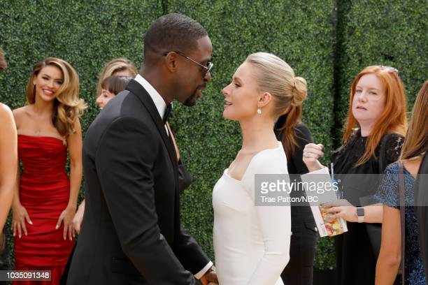 70th ANNUAL PRIMETIME EMMY AWARDS Pictured Actors Sterling K Brown and Kristen Bell arrive to the 70th Annual Primetime Emmy Awards held at the...