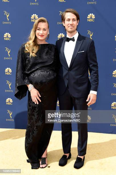 70th ANNUAL PRIMETIME EMMY AWARDS -- Pictured: Actors Yvonne Strahovski and Tim Loden arrive to the 70th Annual Primetime Emmy Awards held at the...