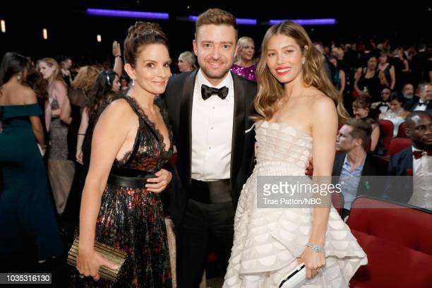 70th ANNUAL PRIMETIME EMMY AWARDS -- Pictured: Actor/writer Tina Fey, actor/singer Justin Timberlake and actor Jessica Biel attend the 70th Annual...