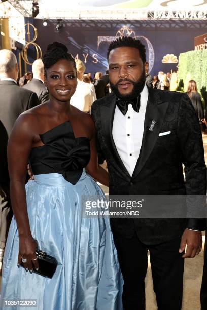 70th ANNUAL PRIMETIME EMMY AWARDS Pictured Alvina Stewart and actor Anthony Anderson arrive to the 70th Annual Primetime Emmy Awards held at the...