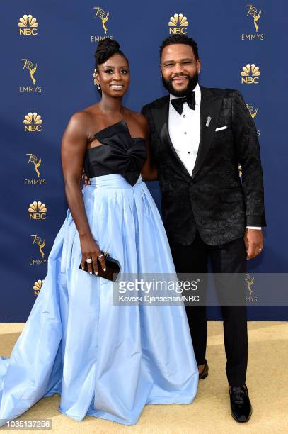70th ANNUAL PRIMETIME EMMY AWARDS Pictured Alvina Stewart and Anthony Anderson arrive to the 70th Annual Primetime Emmy Awards held at the Microsoft...