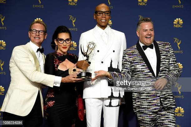 70th ANNUAL PRIMETIME EMMY AWARDS Pictured Carson Kressley Michelle Visage RuPaul and Ross Mathews pose with the Outstanding Reality – Competition...
