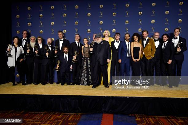 70th ANNUAL PRIMETIME EMMY AWARDS -- Pictured: Cast and crew of Game of Thrones pose with their Outstanding Drama Series awards during the 70th...