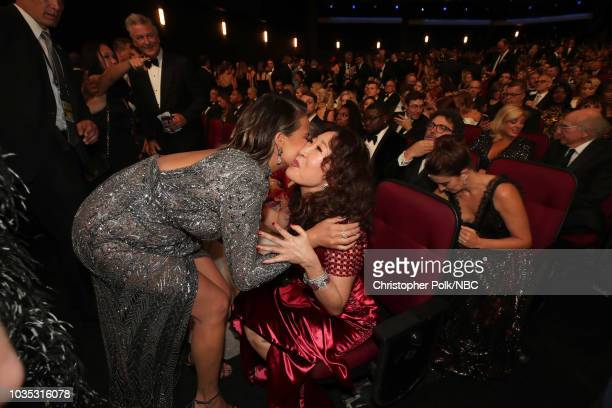70th ANNUAL PRIMETIME EMMY AWARDS Pictured Chrissy Teigen and Sandra Oh arrives to the 70th Annual Primetime Emmy Awards held at the Microsoft...
