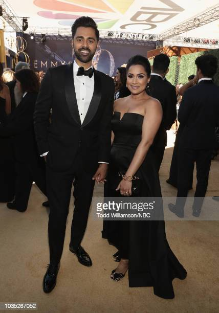 70th ANNUAL PRIMETIME EMMY AWARDS -- Pictured: Comedian Hasan Minhaj and Beena Minhaj arrive to the 70th Annual Primetime Emmy Awards held at the...