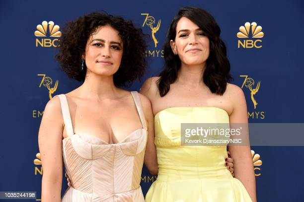 70th ANNUAL PRIMETIME EMMY AWARDS Pictured Comedians Ilana Glazer and Abbi Jacobson arrive to the 70th Annual Primetime Emmy Awards held at the...