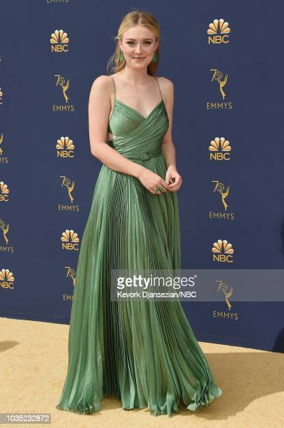 70th ANNUAL PRIMETIME EMMY AWARDS -- Pictured: Dakota Fanning arrives to the 70th Annual Primetime Emmy Awards held at the Microsoft Theater on...