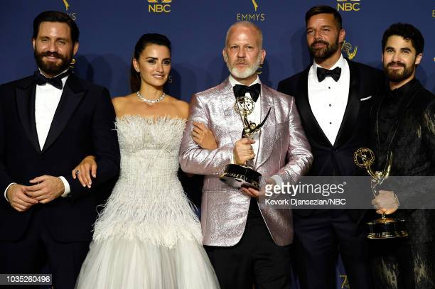 70th ANNUAL PRIMETIME EMMY AWARDS Pictured Edgar Ramirez Penelope Cruz Ryan Murphy Ricky Martin and Darren Criss pose with the Outstanding Limited...