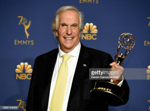 70th ANNUAL PRIMETIME EMMY AWARDS Pictured Henry Winkler poses with the Outstanding Supporting Actor in a Comedy Series award for 'Barry' during the...