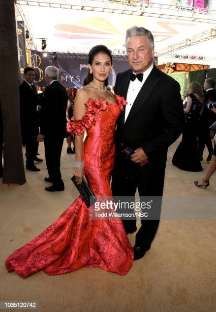 70th ANNUAL PRIMETIME EMMY AWARDS Pictured Hilaria Baldwin and actor Alec Baldwin arrive to the 70th Annual Primetime Emmy Awards held at the...
