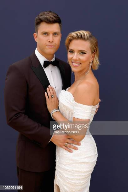 70th ANNUAL PRIMETIME EMMY AWARDS Pictured Host Colin Jost and actor Scarlett Johansson arrive to the 70th Annual Primetime Emmy Awards held at the...