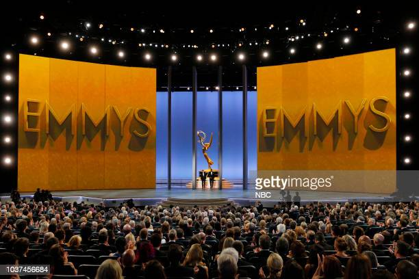 70th ANNUAL PRIMETIME EMMY AWARDS Pictured Hosts Colin Jost Michael Che during the 70th Annual Primetime Emmy Awards held at the Microsoft Theater on...