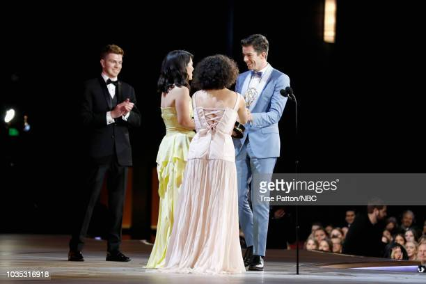 70th ANNUAL PRIMETIME EMMY AWARDS Pictured Ilana Glazer and Abbi Jacobson present the award for Best Writing in a Variety Special to John Mulaney...