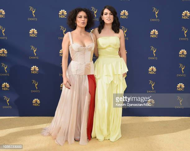 70th ANNUAL PRIMETIME EMMY AWARDS Pictured Ilana Glazer and Abbi Jacobson arrive to the 70th Annual Primetime Emmy Awards held at the Microsoft...