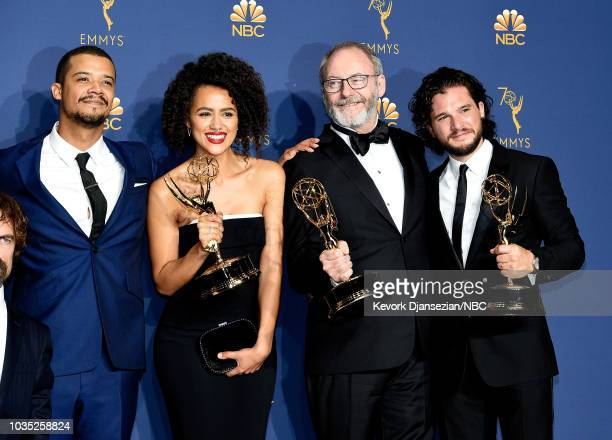 70th ANNUAL PRIMETIME EMMY AWARDS Pictured Jacob Anderson Nathalie Emmanuel Liam Cunningham and Kit Harington pose with their Outstanding Drama...