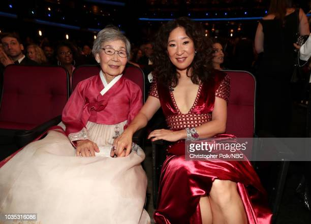 70th ANNUAL PRIMETIME EMMY AWARDS Pictured Jeon Youngnam and Sandra Oh arrives to the 70th Annual Primetime Emmy Awards held at the Microsoft Theater...