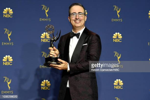70th ANNUAL PRIMETIME EMMY AWARDS -- Pictured: John Oliver poses with the Outstanding Variety Talk Series award for 'Last Week Tonight with John...