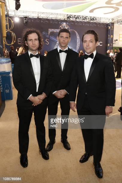 70th ANNUAL PRIMETIME EMMY AWARDS Pictured Kyle Mooney Mikey Day and Beck Bennett arrive to the 70th Annual Primetime Emmy Awards held at the...