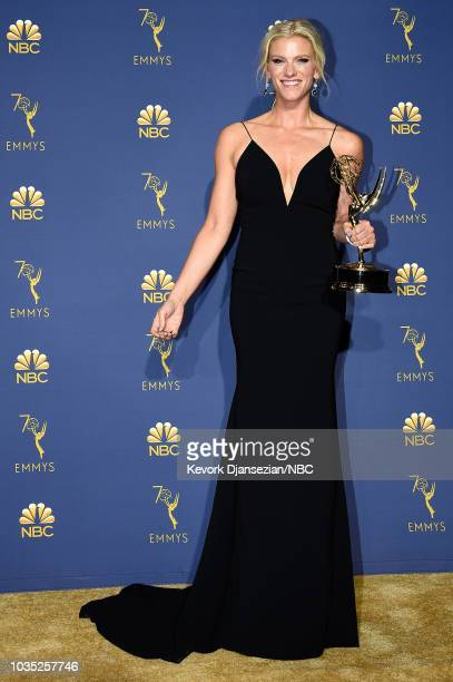 70th ANNUAL PRIMETIME EMMY AWARDS Pictured Lindsay Shookus poses with Outstanding Variety Sketch Series award for 'Saturday Night Live' during the...