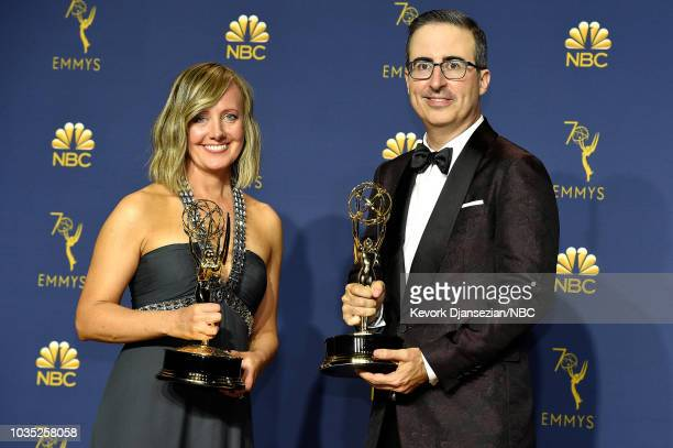 70th ANNUAL PRIMETIME EMMY AWARDS -- Pictured: Liz Stanton and John Oliver pose with their Outstanding Variety Talk Series awards for 'Last Week...