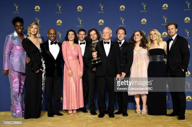 70th ANNUAL PRIMETIME EMMY AWARDS Pictured Lorne Michaels and the cast of Saturday Night Live pose with the Outstanding Variety Sketch Series award...