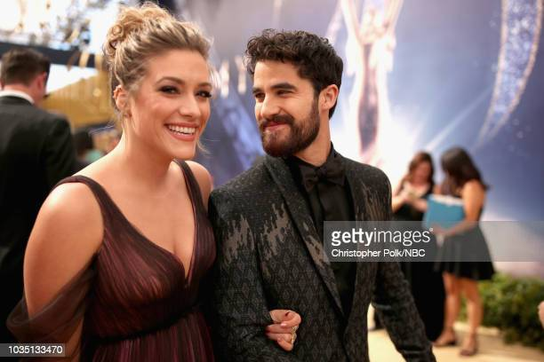 70th ANNUAL PRIMETIME EMMY AWARDS Pictured Mia Swier and Darren Criss arrive to the 70th Annual Primetime Emmy Awards held at the Microsoft Theater...