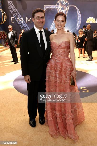 70th ANNUAL PRIMETIME EMMY AWARDS Pictured Michael Koman and Ellie Kemper arrive to the 70th Annual Primetime Emmy Awards held at the Microsoft...