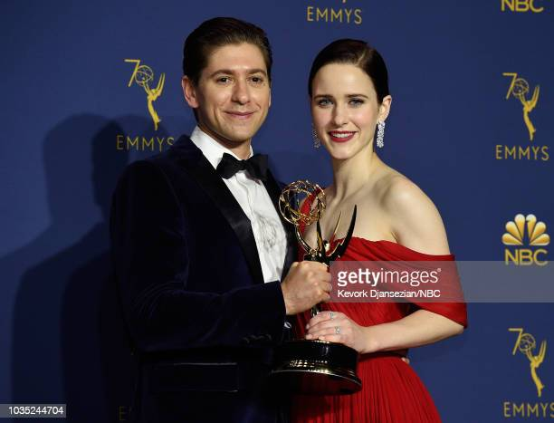 70th ANNUAL PRIMETIME EMMY AWARDS Pictured Michael Zegen and Rachel Brosnahan pose with the Outstanding Comedy Series award for 'The Marvelous Mrs...