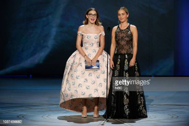 70th ANNUAL PRIMETIME EMMY AWARDS Pictured Millie Bobby Brown Emilia Clarke during the 70th Annual Primetime Emmy Awards held at the Microsoft...