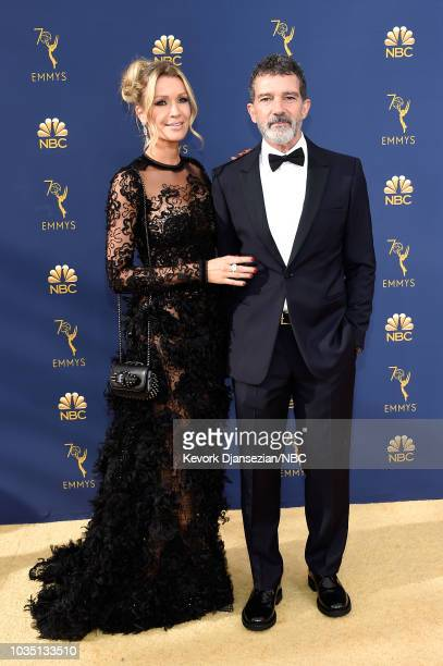 70th ANNUAL PRIMETIME EMMY AWARDS Pictured Nicole Kimpel and actor Antonio Banderas arrive to the 70th Annual Primetime Emmy Awards held at the...