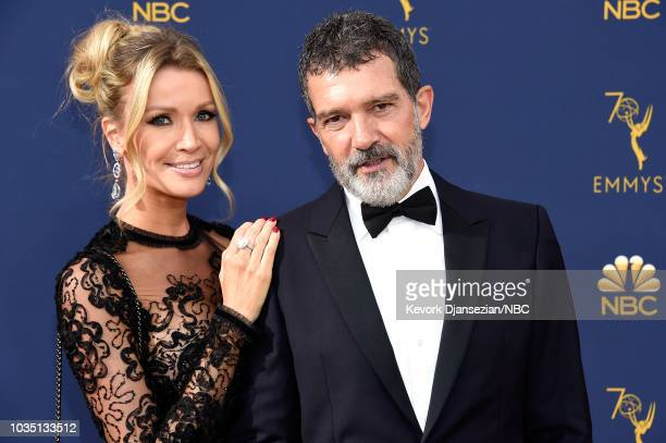 70th ANNUAL PRIMETIME EMMY AWARDS -- Pictured: Nicole Kimpel and actor Antonio Banderas arrive to the 70th Annual Primetime Emmy Awards held at the...