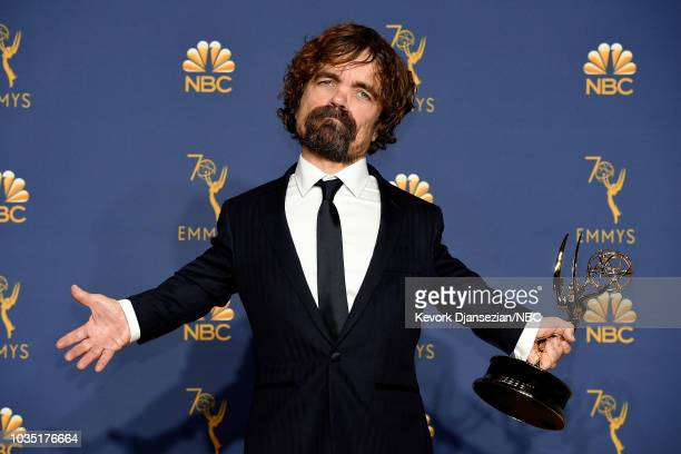 70th ANNUAL PRIMETIME EMMY AWARDS Pictured Peter Dinklage poses with the Outstanding Supporting Actor for a Drama Series for 'Game of Thrones' during...