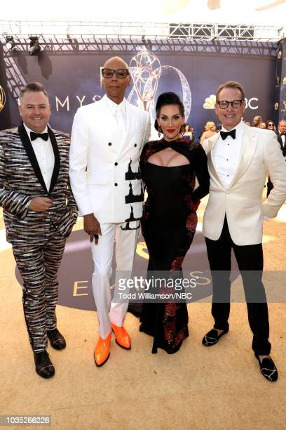 70th ANNUAL PRIMETIME EMMY AWARDS Pictured Ross Mathews RuPaul Michelle Visage and Carson Kressley arrive to the 70th Annual Primetime Emmy Awards...