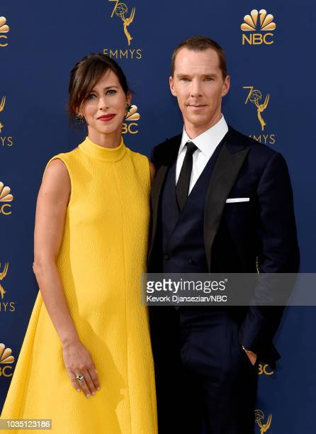 70th ANNUAL PRIMETIME EMMY AWARDS Pictured Sophie Hunter and actor Benedict Cumberbatch arrive to the 70th Annual Primetime Emmy Awards held at the...