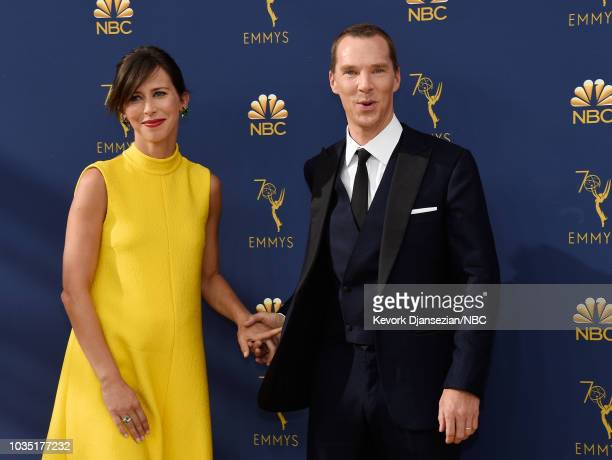 70th ANNUAL PRIMETIME EMMY AWARDS Pictured Sophie Hunter and Benedict Cumberbatch arrive to the 70th Annual Primetime Emmy Awards held at the...