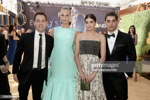 70th ANNUAL PRIMETIME EMMY AWARDS Pictured T R Knight Poppy Delevingne Samantha Colley and Alex Rich arrive to the 70th Annual Primetime Emmy Awards...