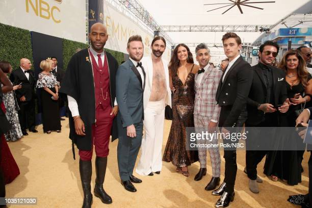 70th ANNUAL PRIMETIME EMMY AWARDS Pictured TV personalities Karamo Brown Bobby Berk and Jonathan Van Ness actor Mandy Moore and TV personalities Tan...