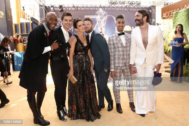 70th ANNUAL PRIMETIME EMMY AWARDS Pictured TV personalities Karamo Brown Antoni Porowski actor Tina Fey TV personalities Bobby Berk Tan France and...