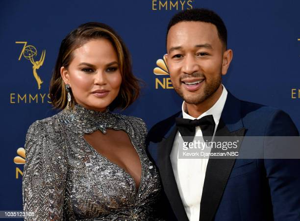 70th ANNUAL PRIMETIME EMMY AWARDS Pictured TV personality Chrissy Teigen and recording artist John Legend arrive to the 70th Annual Primetime Emmy...