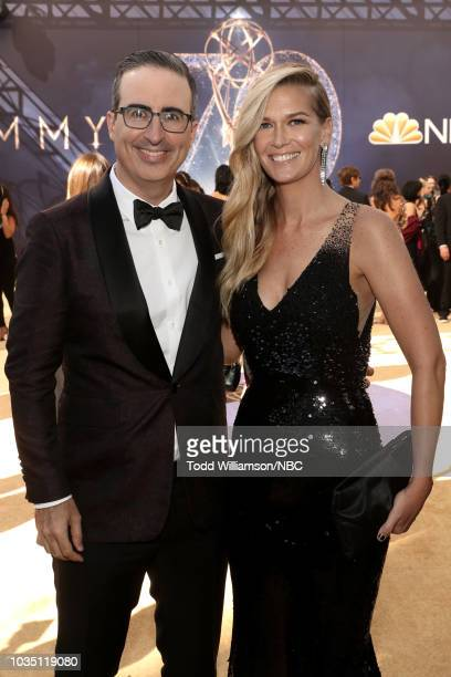 70th ANNUAL PRIMETIME EMMY AWARDS -- Pictured: TV personality John Oliver and Kate Norley arrive to the 70th Annual Primetime Emmy Awards held at the...