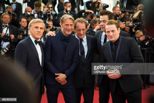 70th edition of the Cannes international film festival in Cannes Christoph Waltz Mads Mikkelsen Vincent Lindon Benicio del Toro and Benoit Magimel...