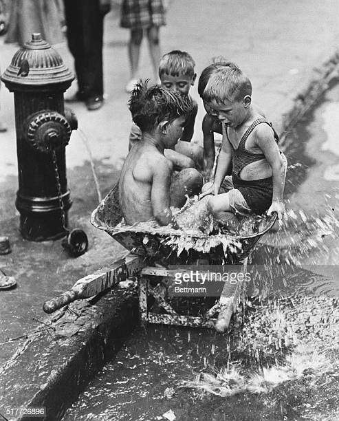 7/10/1937New York NY This quartet of young men was among the very few New Yorkers who enjoyed the 95 degree heat which seared the metropolis July 10...