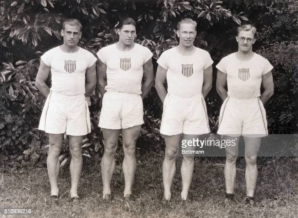 7/11/1924Colombes France Members of the decathlon team representing the United States at the Olympic Games pose just before one of the trial heats...