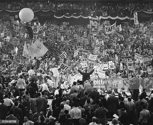 Chicago, Illinois- Taft banners block the aisles at the peak of the noisy demonstration for the Ohio Senator in Convention Hall as his name was...