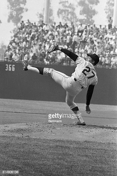 Anaheim, CA: Action shot of San Francisco Giants' Juan Marichal pitching during the All-Star game at Anaheim Stadium.
