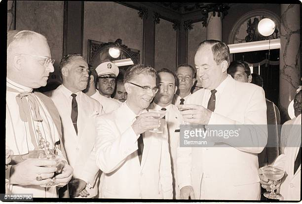 7/1/1966Santo Domingo Dominican RepublicUS VicePresident Hubert Humphrey offers a toast to congratulate newlyinaugurated Dominican President Joaquin...