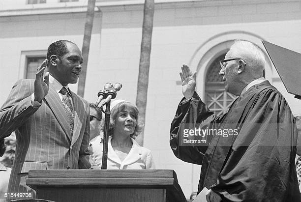 7/1/1973Los Angeles California Tom Bradley takes the oath of office of the the Mayor of Los Angeles as former Chief Justice of the US Earl Warren...