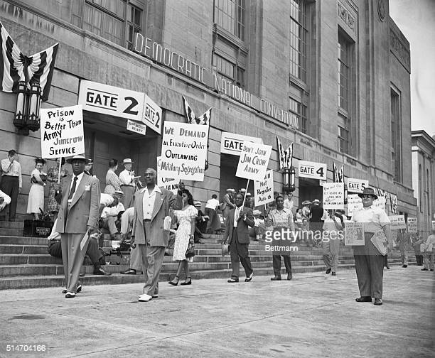 Philadelphia, PA: Picketers outside Democratic National Covention, July 12, demanding equal rights for Negoes and Anti-Jim Crow plank in the Party...