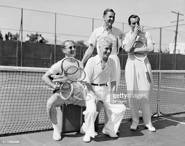 7/13/1937Beverly Hills CA In the world's screwiest tennis match Fred Perry and Charlie Chaplin defeated Ellsworth Vines and Groucho Marx recently at...
