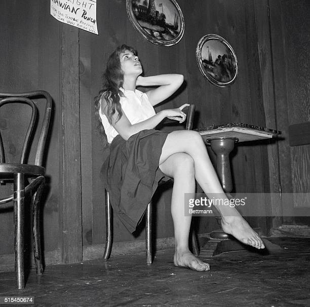 7/13/1959New York NY Angel poses in the Gaslight coffee house after being voted Miss Beatnik Beatniks consider themselves out of this world but this...